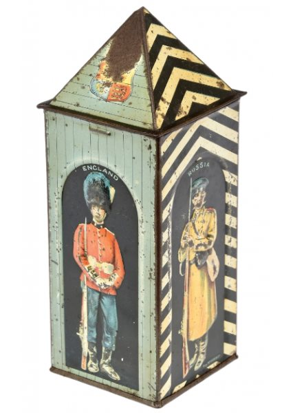 Huntley Palmers Sentry Box tinplate Biscuit Tin c 1909