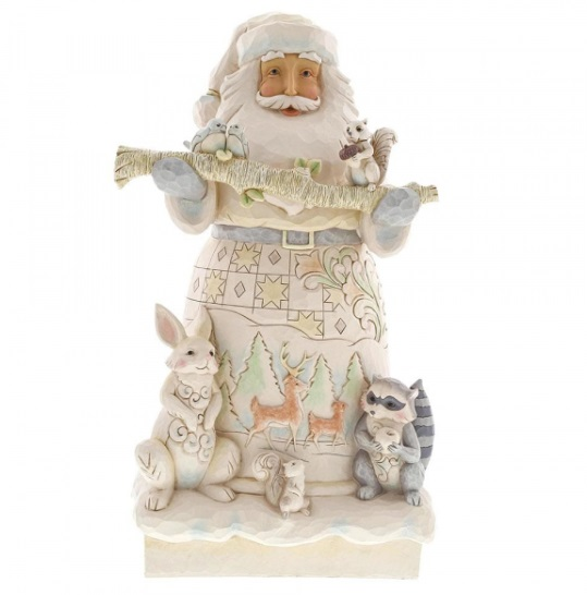 Jim Shore White Woodland Santa Statue