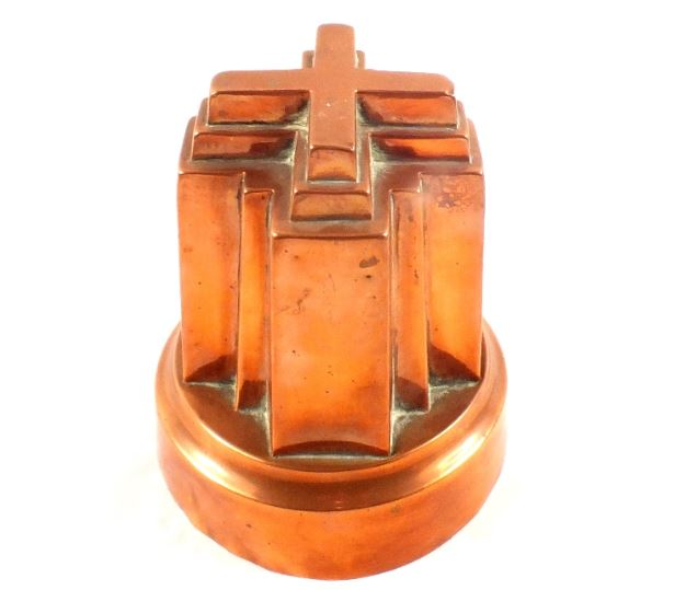 Victorian Alexandra Cross circular copper jelly mould