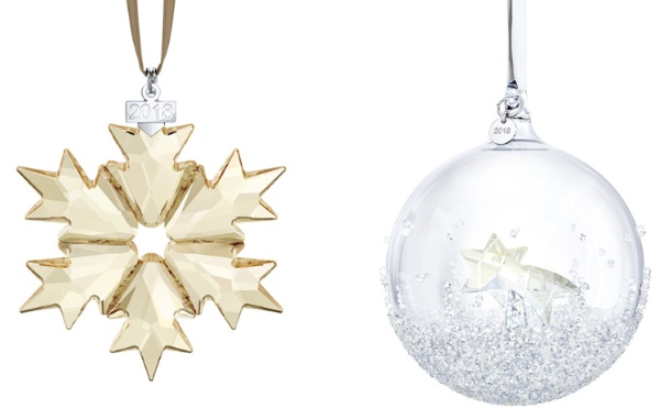 swarovski annual star and ball ornaments