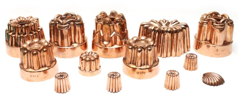 victorian copper jelly moulds