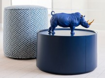 Bold Blue Gold Rhino from Lladro