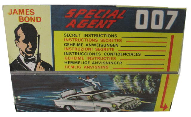 Reve  rse of Display Corgi 261 James Bond Aston Martin DB5