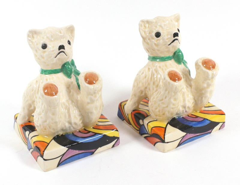 A very rare pair of Clarice Cliff Fantasque Teddy bear bookends