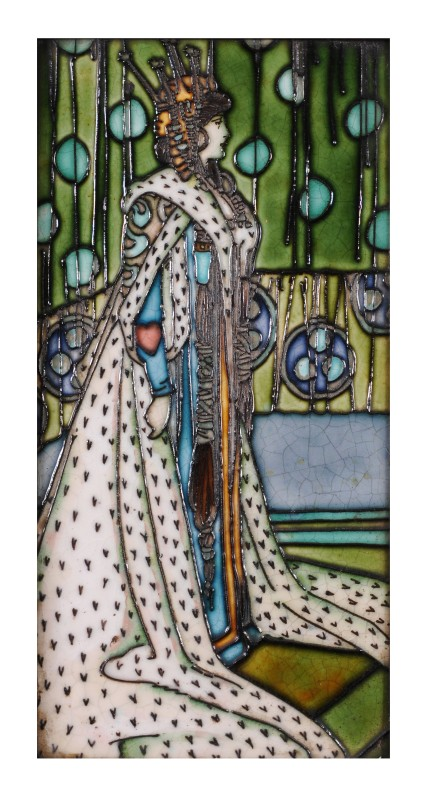 Charlotte Rhead a tube-lined large tile depicting a young woman wearing ornate robes and headdress