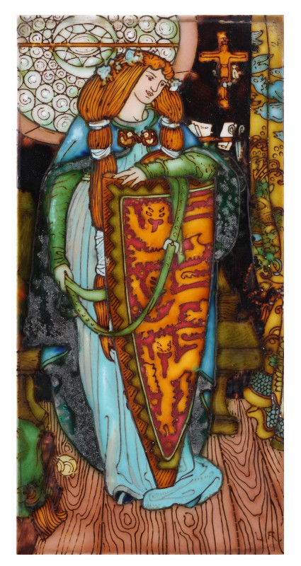 Charlotte Rhead a tube-lined rectangular tile decorated with Elaine the lily maid of Astolat
