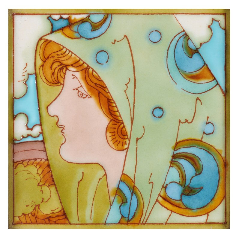 Charlotte Rhead a tube-lined tile decorated with the head of a girl wearing elaborate headdress