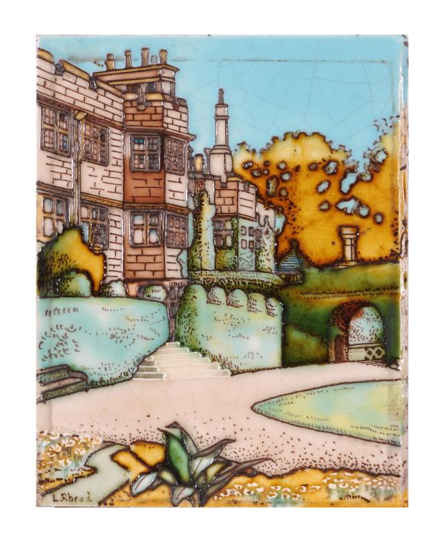 Charlotte Rhead for T & R Boote a tube-lined pottery rectangular tile of a house