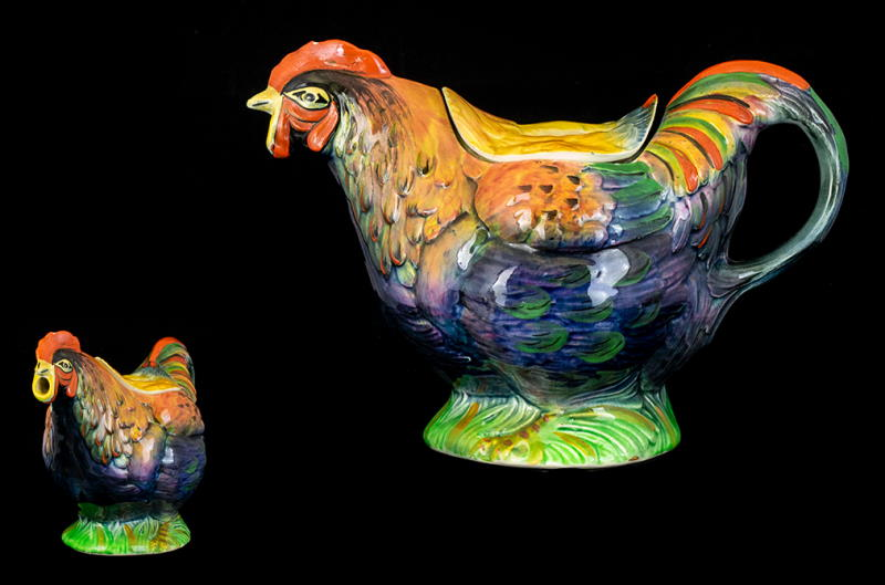 Royal Winton Grimwades Majolica Hand Painted 1930s Figural Teapot In The Form of a Rooster