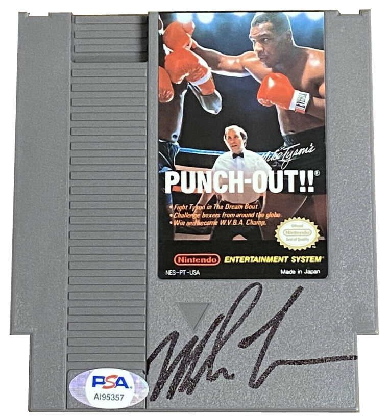 mike tysons punch out nintendo cartridge signed