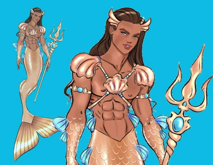 Angel Kent art for Barbie King Ocean Ken Merman Doll